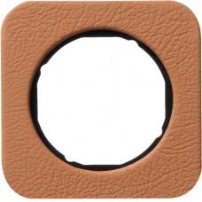 Рамка 1Х шкіра тиснена, коричневий/чорний, глянцева, R.1 Berker 10112364