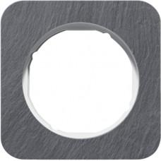 Рамка 1Х сланец природний, антрацитовий/полярна білизна, глянцева, R.1 Berker 10112389