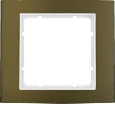 Рамка 1Х анодированный алюминий, коричневый/пол.белизна, матовый, B.3 Berker 10113021