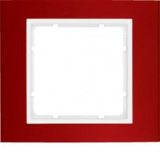 Рамка 1Х анодированный алюминий, красный/пол.белизна, матовый, B.3 Berker 10113022