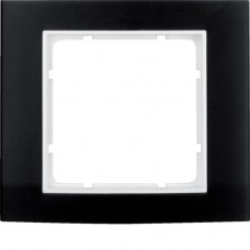Рамка 1Х анодированный алюминий, черный/пол.белизна, матовый, B.3 Berker 10113025
