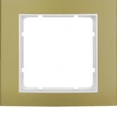 Рамка 1Х анодированный алюминий, золотой/пол.белизна, матовый, B.3 Berker 10113046