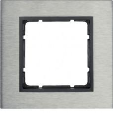 Рамка 1Х нержавеющая сталь, антрацитовый, матовый B.7 Berker 10113606