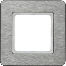 Рамка 1Х нержавеющая сталь, металл с кратцованной поверхностью, Q.7 Berker 10116083