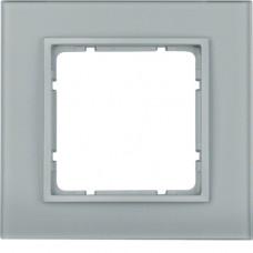 Рамка 1Х, стекло, алюминиевый, матовый B.7 Berker 10116414