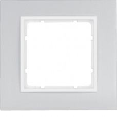 Рамка 1Х анодированный алюминий, алюминиевый/пол.белизна, матовый, B.7 Berker 10116914