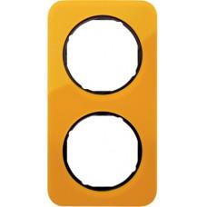 Рамка 2Х акріл прозорий, помаранчевий/чорний, глянцева, R.1 Berker 10122334