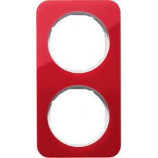 Рамка 2Х акріл прозорий, червоний/полярна білизна, глянцева, R.1 Berker 10122349