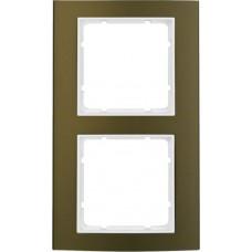Рамка 2Х анодированный алюминий, коричневый/пол.белизна, матовый, B.3 Berker 10123021