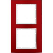 Рамка 2Х анодированный алюминий, красный/пол.белизна, матовый, B.3 Berker 10123022