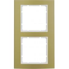 Рамка 2Х анодированный алюминий, золотой/пол.белизна, матовый, B.3 Berker 10123046