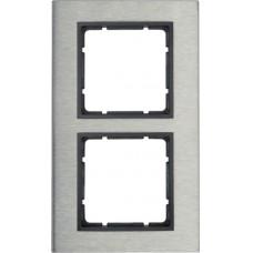 Рамка 2Х вертикальная, нержавеющая сталь, антрацитовый, матовый B.7 Berker 10123606
