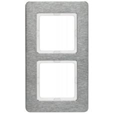 Рамка 2Х вертикальная, нержавеющая сталь, металл с кратцованной поверхностью, Q.7 Berker 10126083