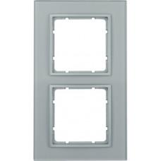 Рамка 2Х, стекло, алюминиевый, матовый B.7 Berker 10126414