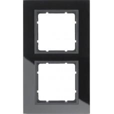 Рамка 2Х, стекло, черный/антрацитовый, матовый B.7 Berker 10126616