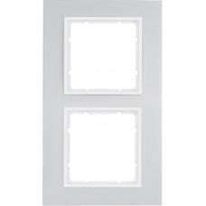 Рамка 2Х анодированный алюминий, алюминиевый/пол.белизна, матовый, B.7 Berker 10126914