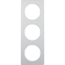 Рамка 3Х анодований алюміній, алюмінієвий/полярна білизна, R.3 Berker 10132274