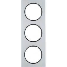 Рамка 3Х анодований алюміній, алюмінієвий/чорний, R.3 Berker 10132284