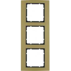 Рамка 3Х анодированный алюминий, золотой/антрацитовый, матовый, B.3 Berker 10133016