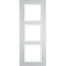 Рамка 3Х анодированный алюминий, алюминиевый/пол.белизна, матовый, B.3 Berker 10133904