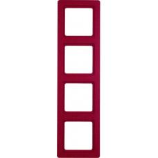 Рамка 4Х пластик, красный, с эффектом бархата, Q.1 Berker 10146062