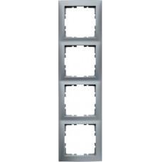 Рамка 4Х пластик, алюминиевый, матовый S.1 Berker 10149939