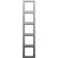Рамка 5Х пластик, алюминиевый, бархатный лак, Q.1 Berker 10156084