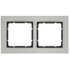 Рамка 2Х горизонтальная, нержавеющая сталь, антрацитовый, матовый B.7 Berker 10223606