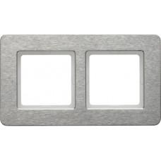 Рамка 2Х горизонтальная, нержавеющая сталь, металл с кратцованной поверхностью, Q.7 Berker 10226083