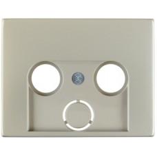 Накладка для антенной розетки 2/3 отверстия, нержавеющая сталь, металл матированный, K.5 Berker 12017014