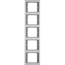 Рамка 5Х вертикальна, анодований алюміній, алюмінієвий, K.5 Berker 13537003