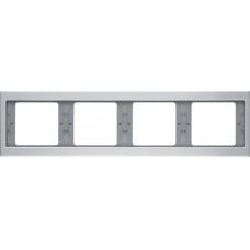 Рамка 4Х горизонтальна, анодований алюміній, алюмінієвий, K.5 Berker 13837003