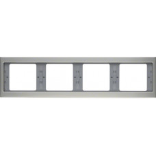 Рамка 4Х нержавіюча сталь, метал матований, горизонтальна, K.5 Berker 13837004
