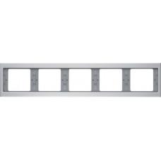 Рамка 5Х горизонтальна, анодований алюміній, алюмінієвий, K.5 Berker 13937003
