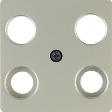 Накладка для антенной розетки 4 отверстия, нержавеющая сталь, металл матированный, K.5 Berker 148304