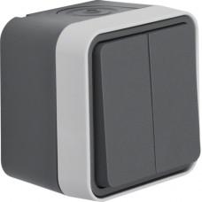 Вимикач 2-клавішний IP55, сірий, 10АX/250В W.1 Berker 30753505