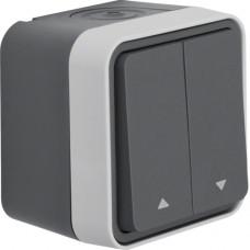 Выключатель для жалюзи 2-клавишный IP55, серый, 10А/250В W.1 Berker 30753525