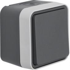 Перемикач IP55, сірий, 10АX/250В W.1 Berker 30763505