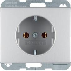Розетка с з/к, 16А/250В, анодированный алюминий, алюминиевый, K.5 Berker 47157003