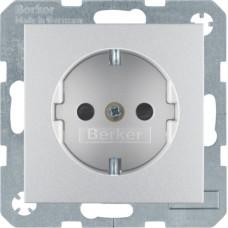 Розетка с з/к, со шторками, алюминиевый, матовый 16А/250В S.1 Berker 47231404