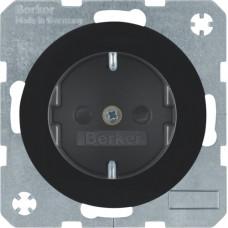 Розетка с з/к, со шторками, 16А/250В, черная, глянцевая, R.x Berker 47232045