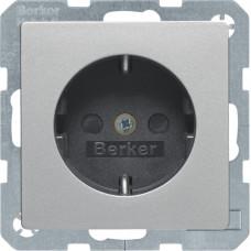Розетка з з/к, зі шторками, 16А/250В, алюмінієвий, бархатний лак, Q.х Berker 47236084