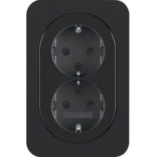 Розетка с з/к с со шторками, двойная цельная, 16А/250В, черная, глянцевая, R.1 Berker 47292045