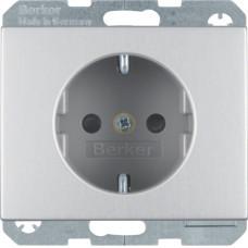 Розетка с з/к, со шторками, анодированный алюминий, алюминиевый, K.5 Berker 47357003