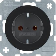 Розетка с з/к, 16А/250В, черная, глянцевая, R.x Berker 47432045