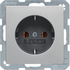 Розетка з з/к, 16А/250В, алюмінієвий, бархатний лак, Q.х Berker 47436084