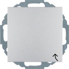 Розетка с з/к, крышка, со шторками, алюминиевый, матовый 16А/250В S.1 Berker 47441404