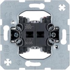 Кнопка нажимная двухклавишная 2НО контакта, общая вводная клемма, 10А/250В Berker 5035