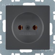 Розетка без з/к, 16А/250В, антрацитовый, бархатный лак, Q.х Berker 6167036086