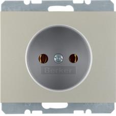 Розетка без з/к, нержавеющая сталь, металл матированный, 16А/250В K.5 Berker 6167157004